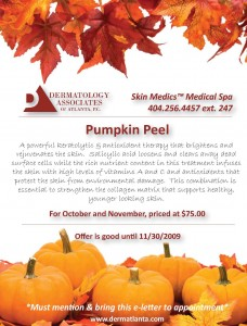 Dermatology Associates of Atlanta is offering a Pumpkin Peel Special for the month of October!