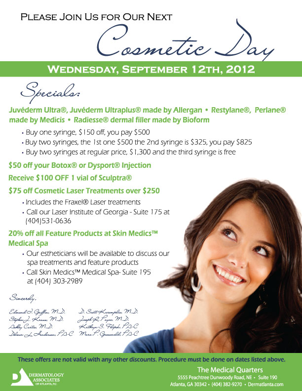 Dermatology Associates of Atlanta hosting Cosmetic Day September 2012