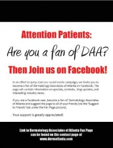 Become a fan of Dermatology Associates of Atlanta on Facebook!