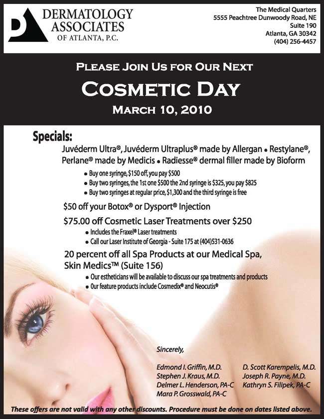 Please Join Us for Our Cosmetic Day March 3rd!