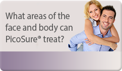 What areas of the face and body can PicoSure® treat?