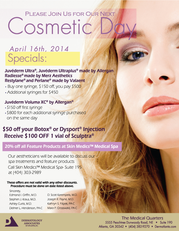 April 2014 Cosmetic Day Flyer Dermatology Associates Of