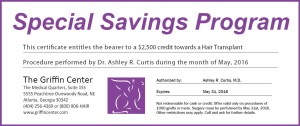 Atlanta Hair Transplant Discounts - May Only Hair Transplant Surgery Special